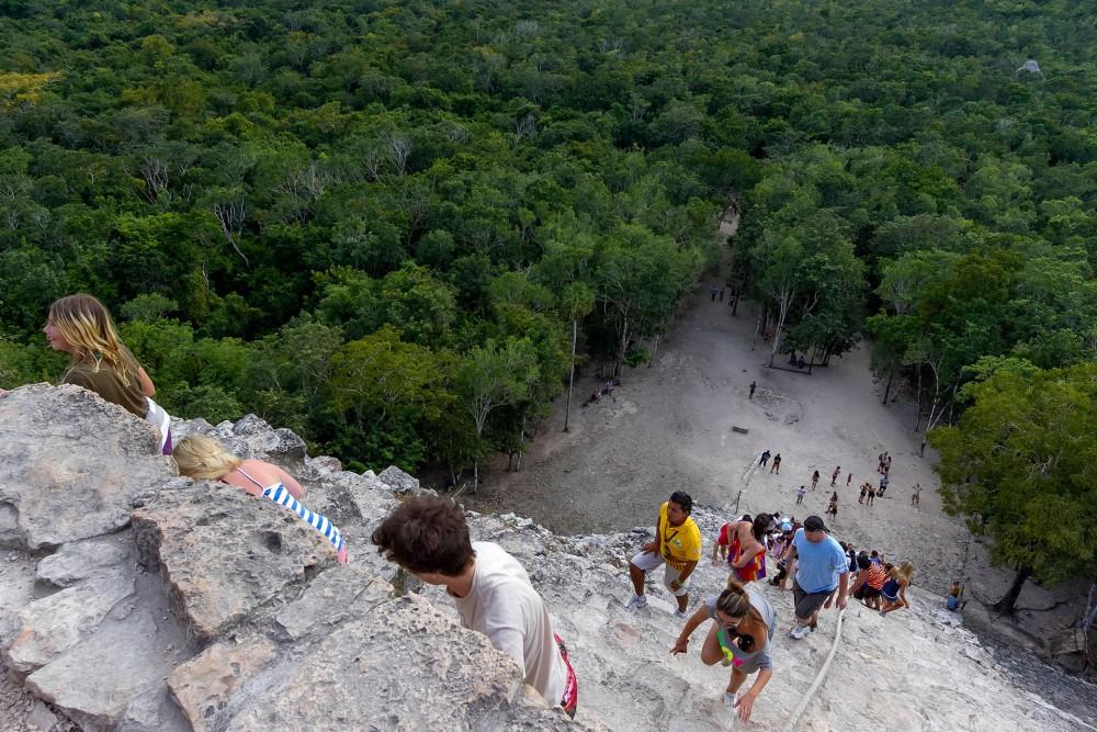 coba ruins, climbing nohoch mul