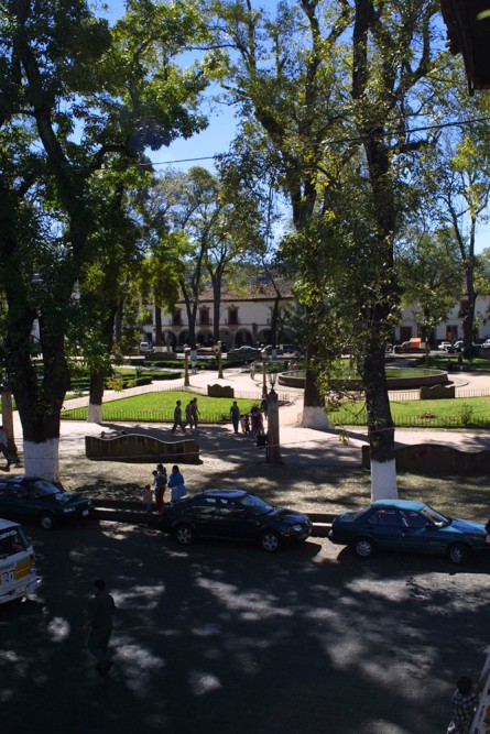 Mansion Iturbe, Patzcuaro, view from the hotel over the plaza