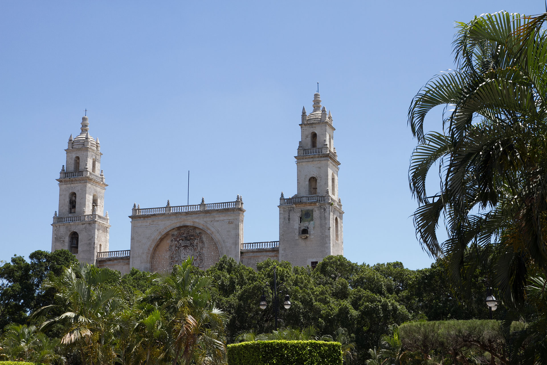 Merida's Cathedral from the Plaza